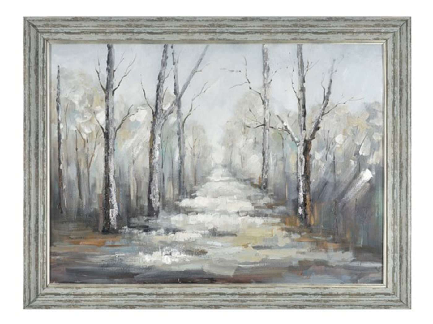 "Winter Woods Path Framed Handpainted Canvas 47""W x 36""H"
