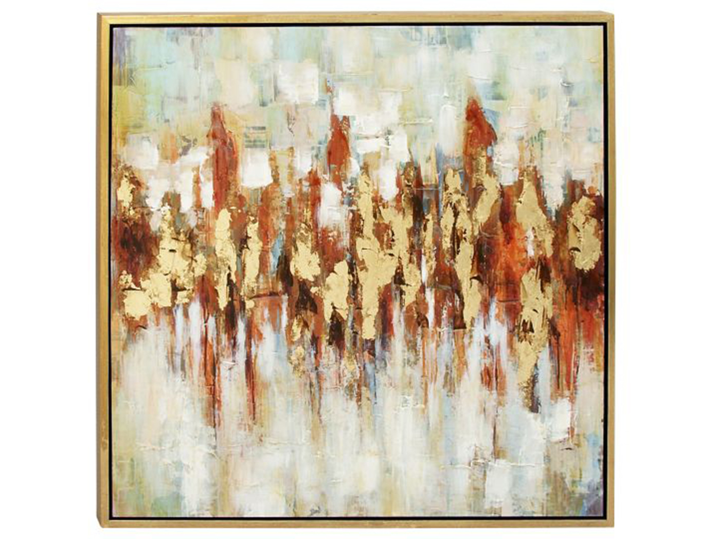 "Gold & Rust Abstract Framed Canvas Art 39""W x 39""H"