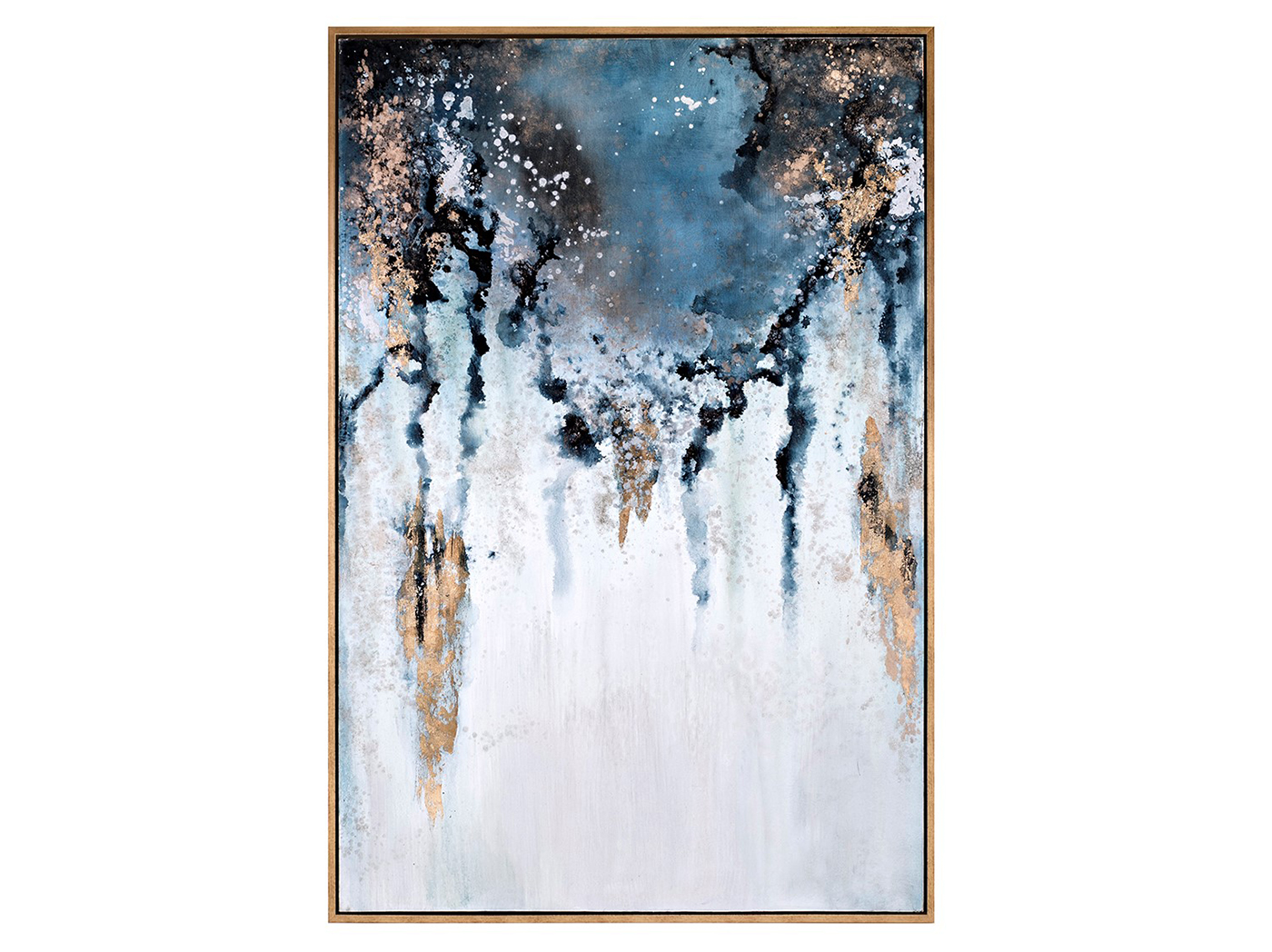 "Blue, Gold, and Charcoal Abstract Framed Oil Painting 50""W x 74""H"
