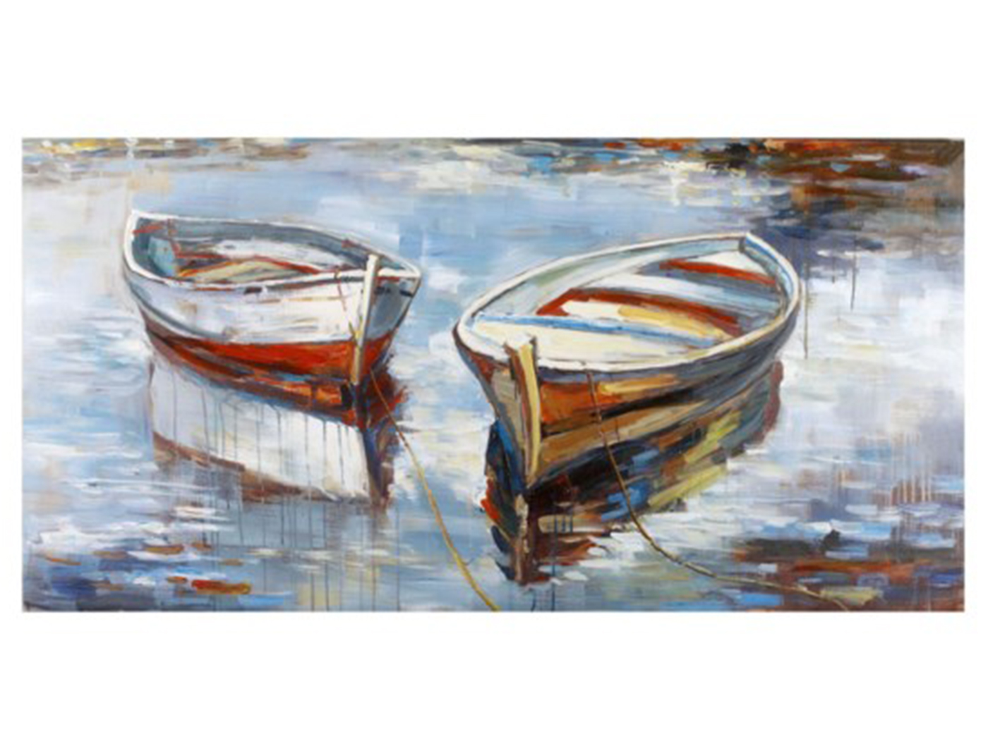 "Two Row Boats Canvas Art 60""W x 30""H"