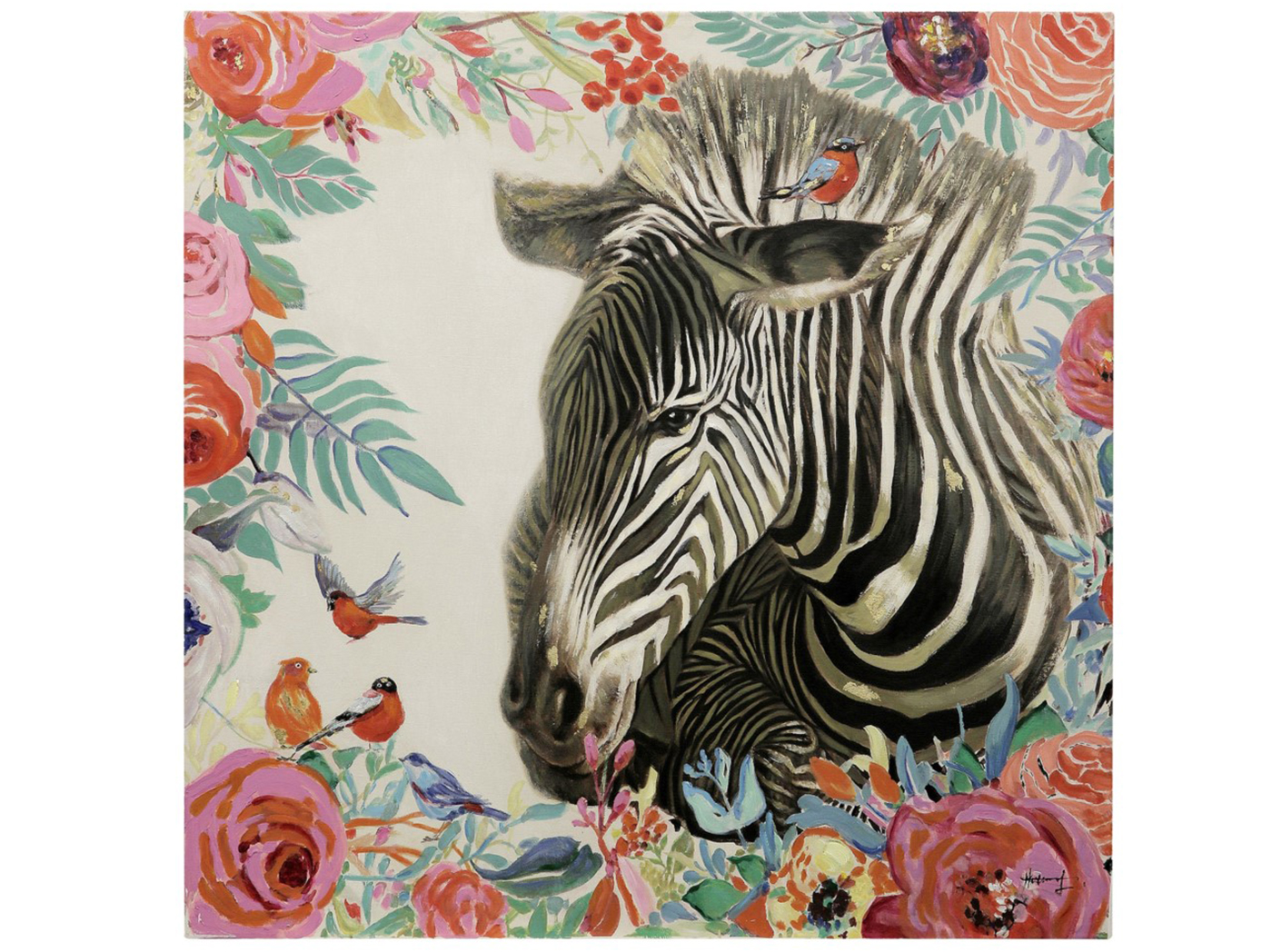 "Zebra Floral Canvas Art 36""W x 36""H"