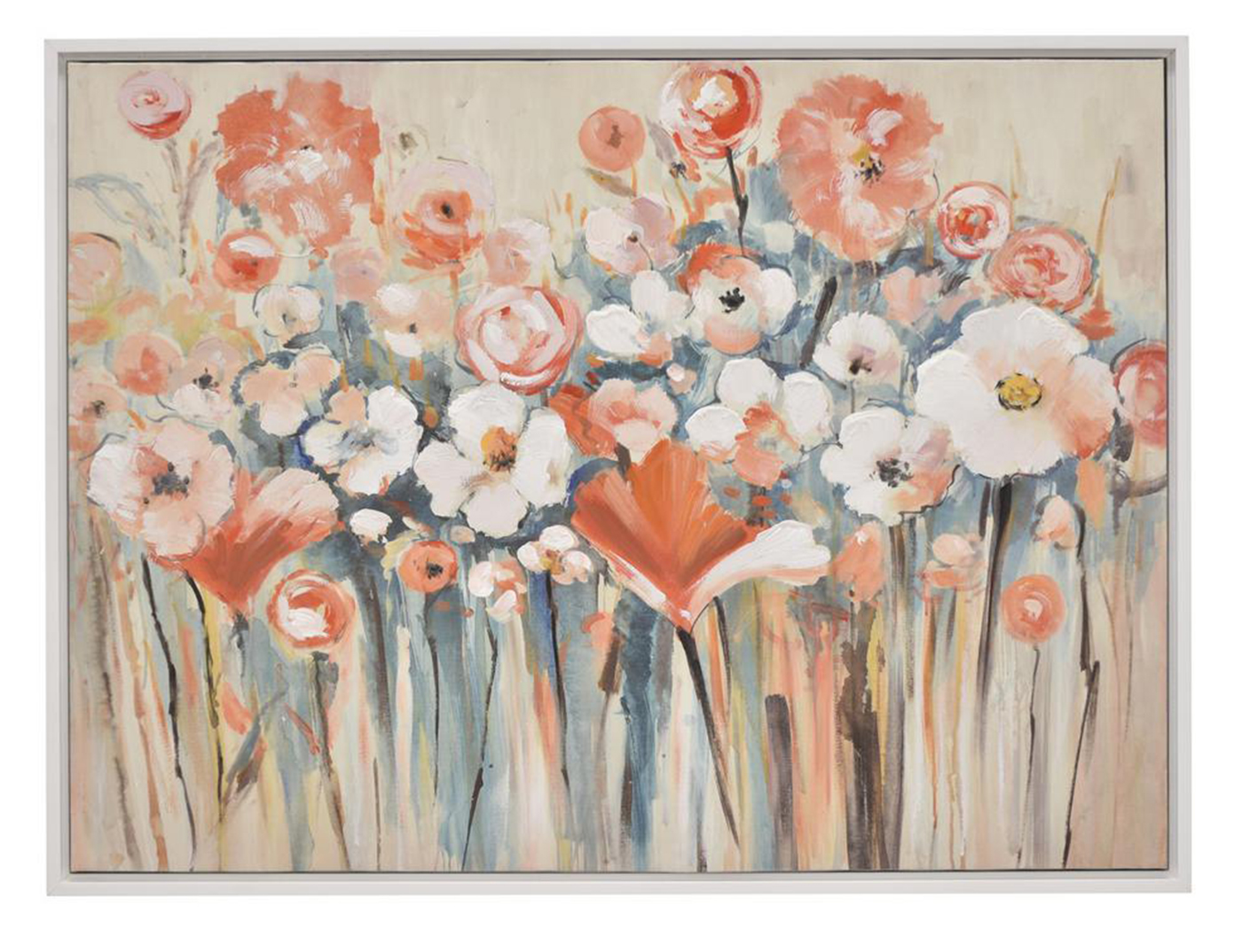 "Pink and Blue Flowers Framed Oil Painting 40""W x 30""H"