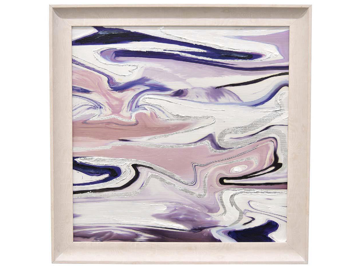 "Purple Abstract Framed Oil Painting 23.5""W x 23.5""H"