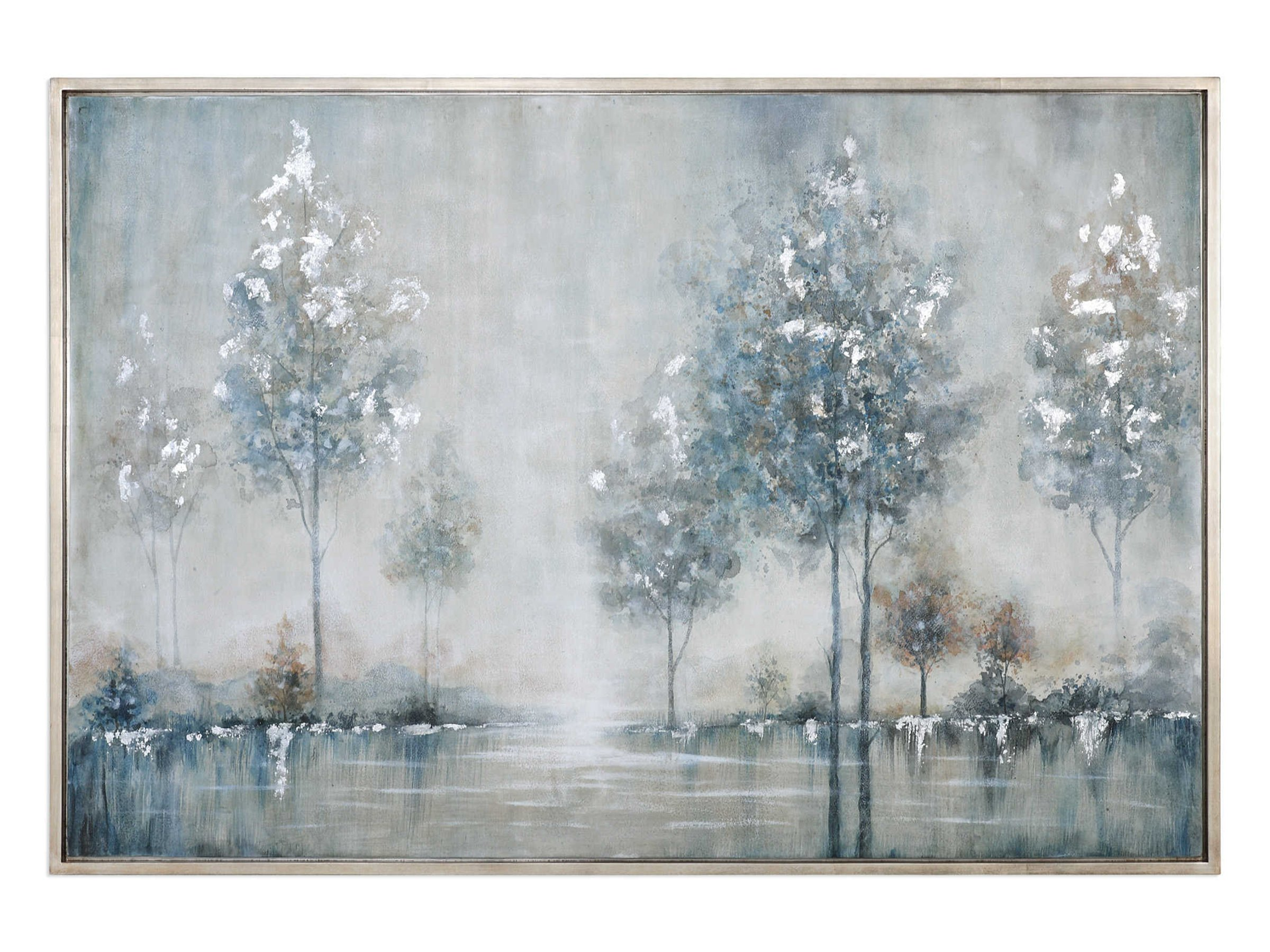 "Blue and Silver Trees Handpainted Framed Canvas Art 61""W x 41""H"