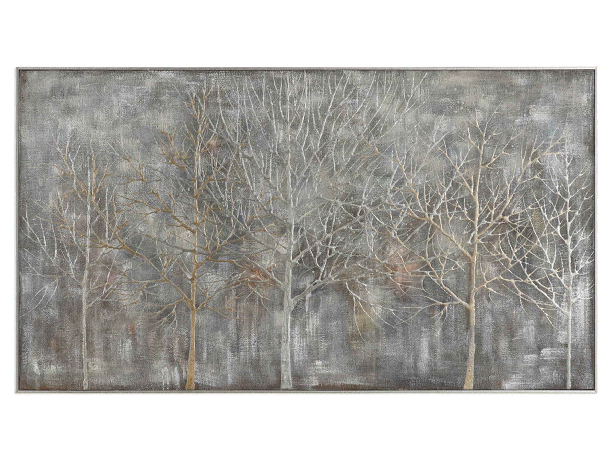 "Silver and Gold Handpainted Trees Framed Canvas Art 73""W x 41""H"