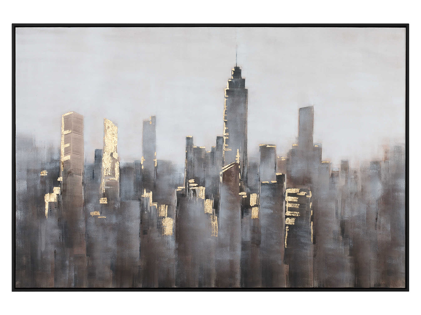 "Grey, Taupe, and Gold Leaf Cityscape Framed Handpainted Canvas 61""W x 41""H"