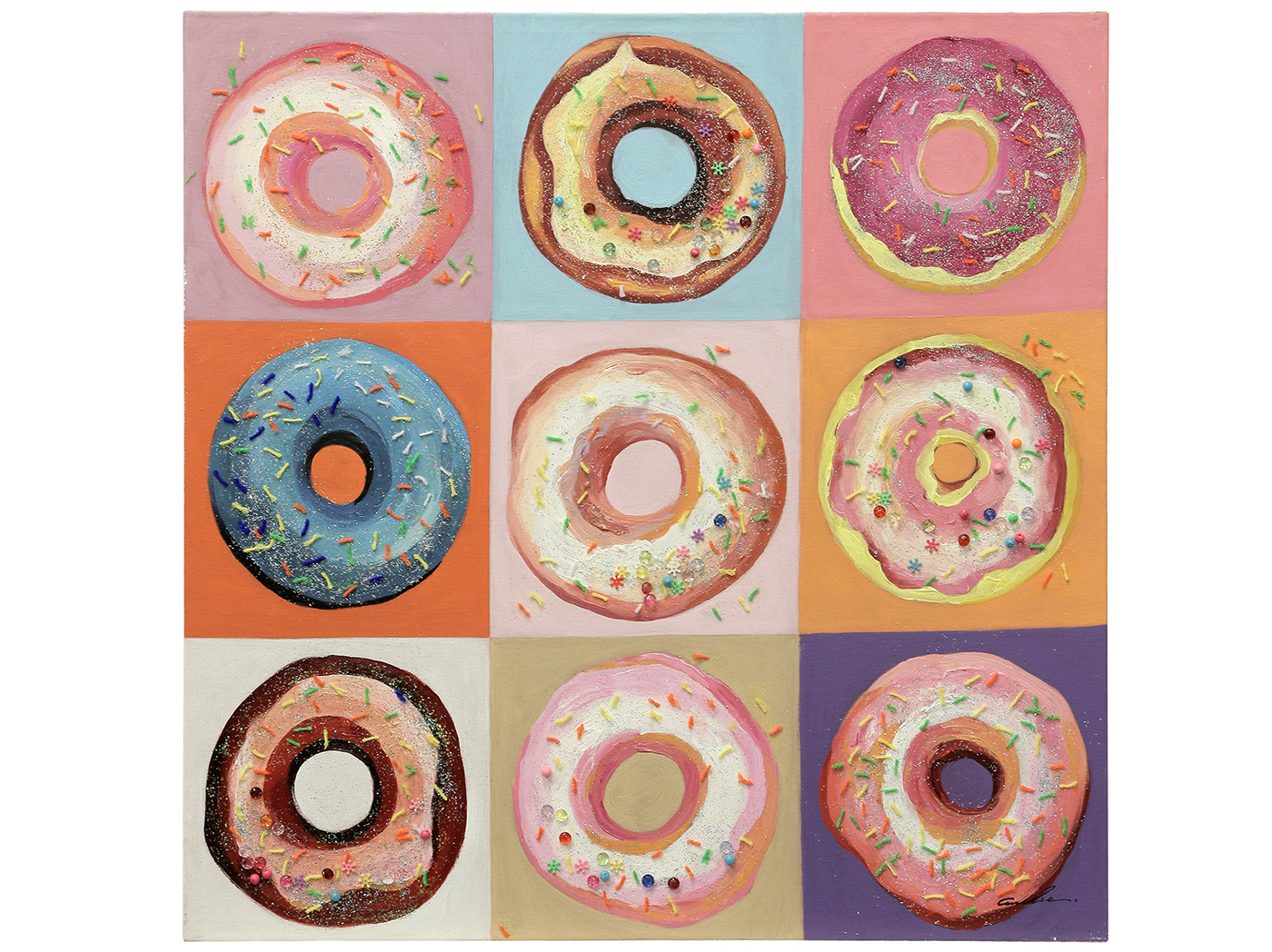 "Handpainted Donut Art 36""W x 36""H"