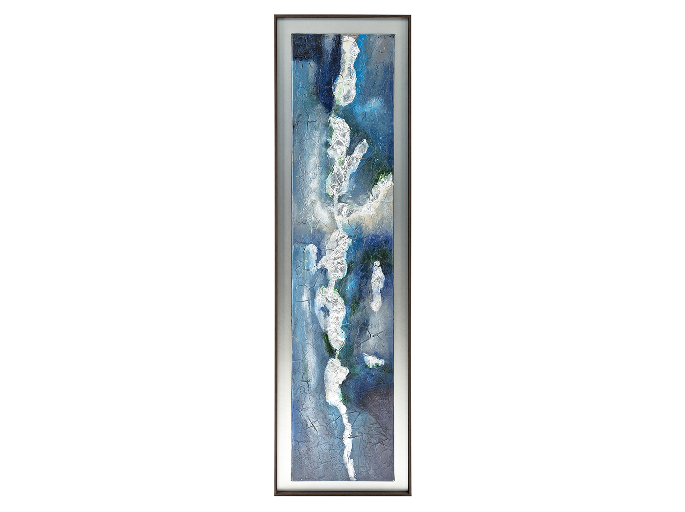 "Blue, White, and Green Abstract Framed Oil Painting 20""W x 70""H"