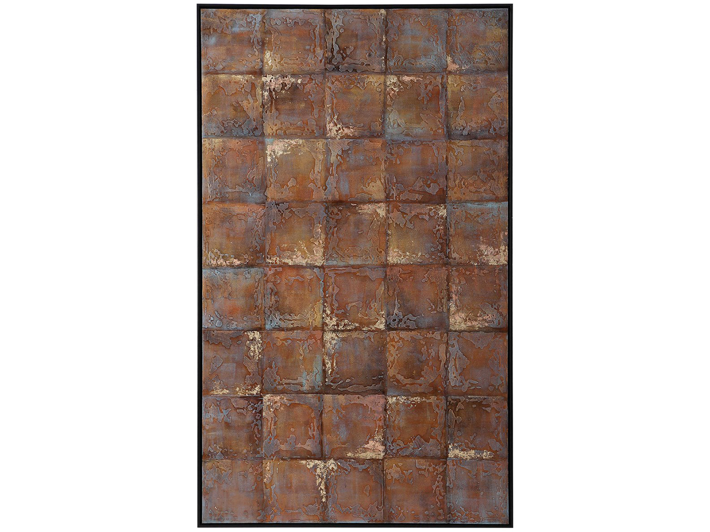 "Copper Metallic Tiles Handpainted Canvas 41""W x 67""H"