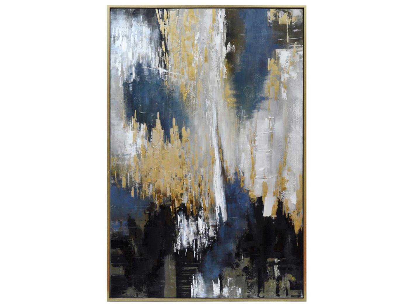"Blue, Black, Gray and Gold Abstract Canvas Art 48""W x 72""H"