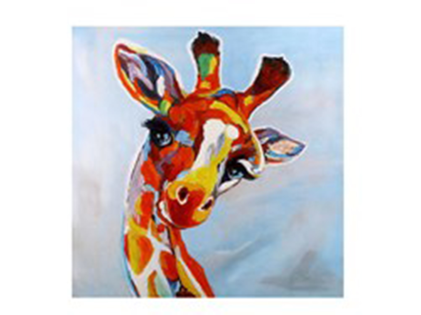 "Colorful Hand Painted Giraffe Canvas Art 40""W x 40""H"