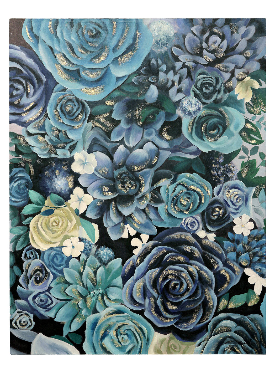 "Blue and Gold Leaf Handpainted Flowers Wall Art 40""W x 50""H"