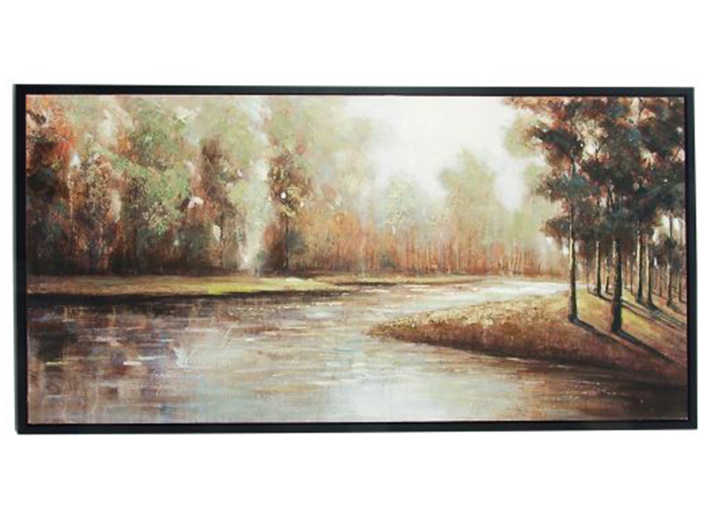 "Fall Trees Along The River Framed Canvas Art 59""W x 30""H"