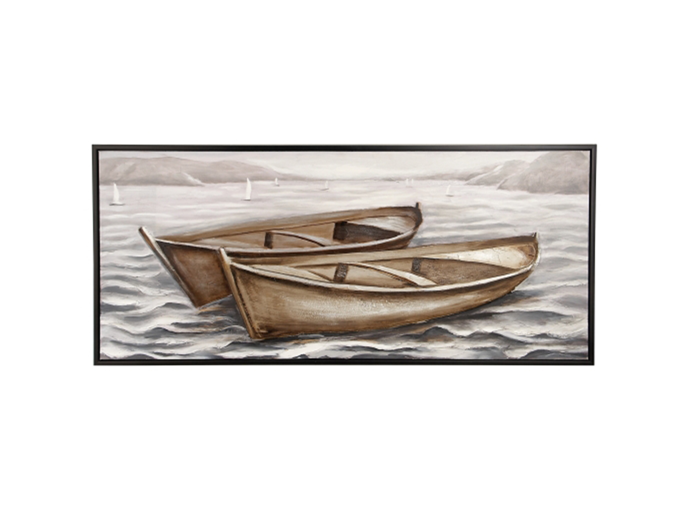 "Two Boats Framed Canvas Art 71""W x 31""H"