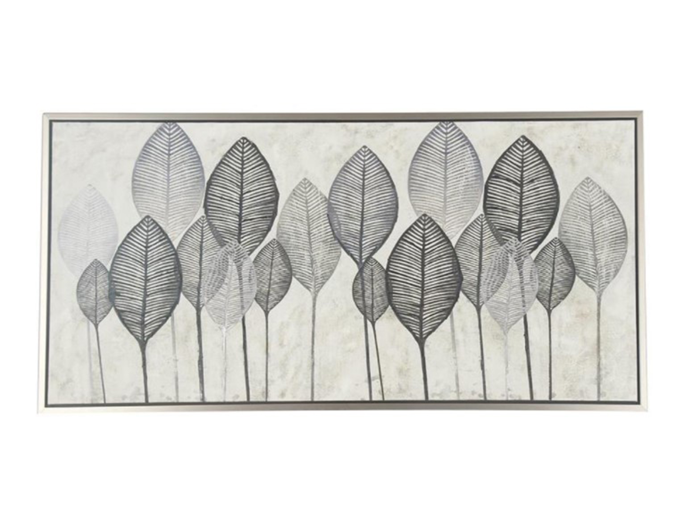 "Black, White, and Grey Leaves Framed Canvas Art 55""W x 27""H"