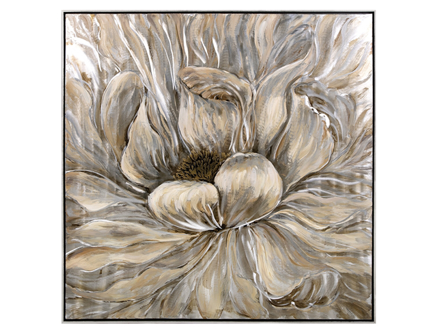 "Neutral Flower Oil Painting 40""W x 40""H"