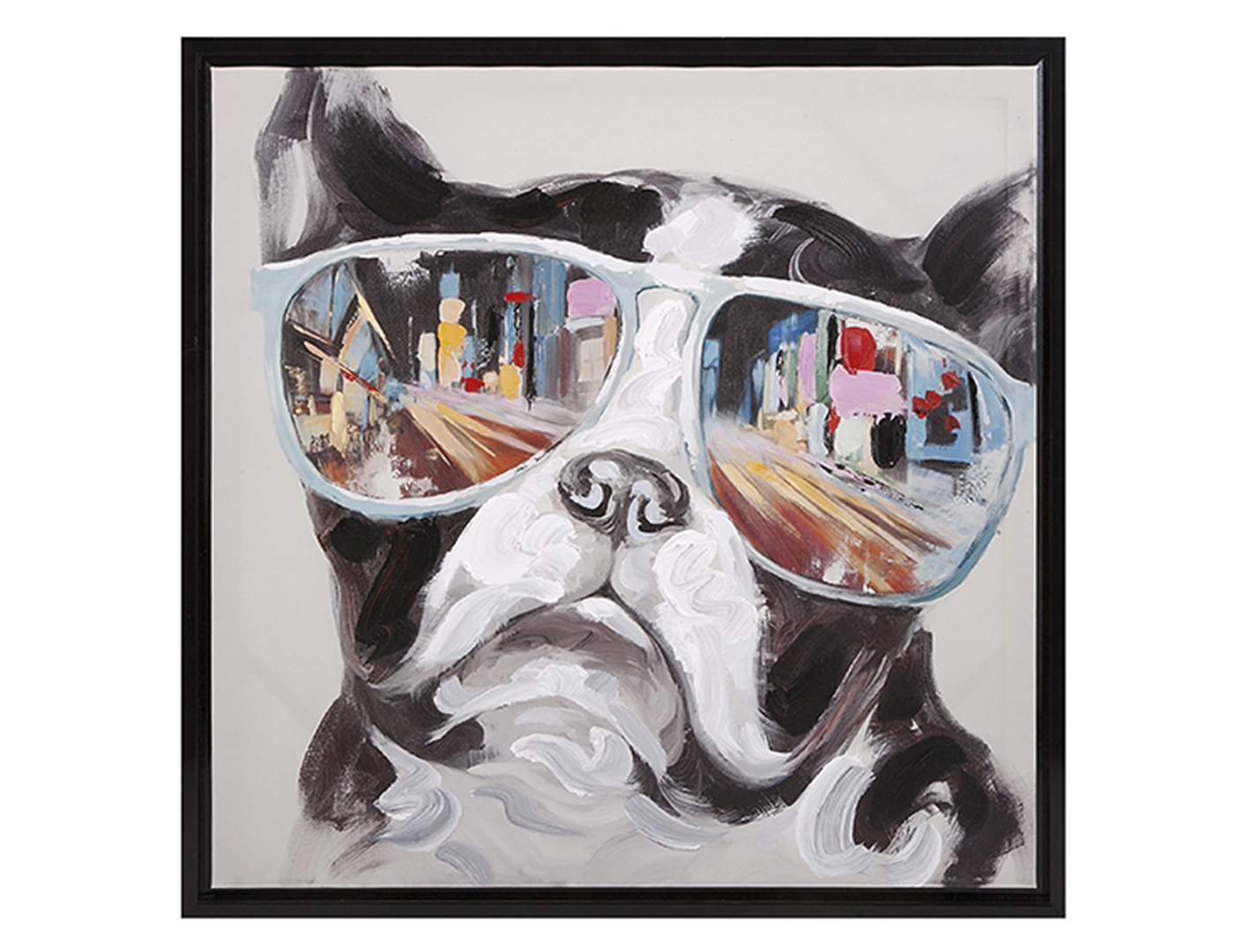 "City Shades Dog Framed Canvas 34""W x 34""H"
