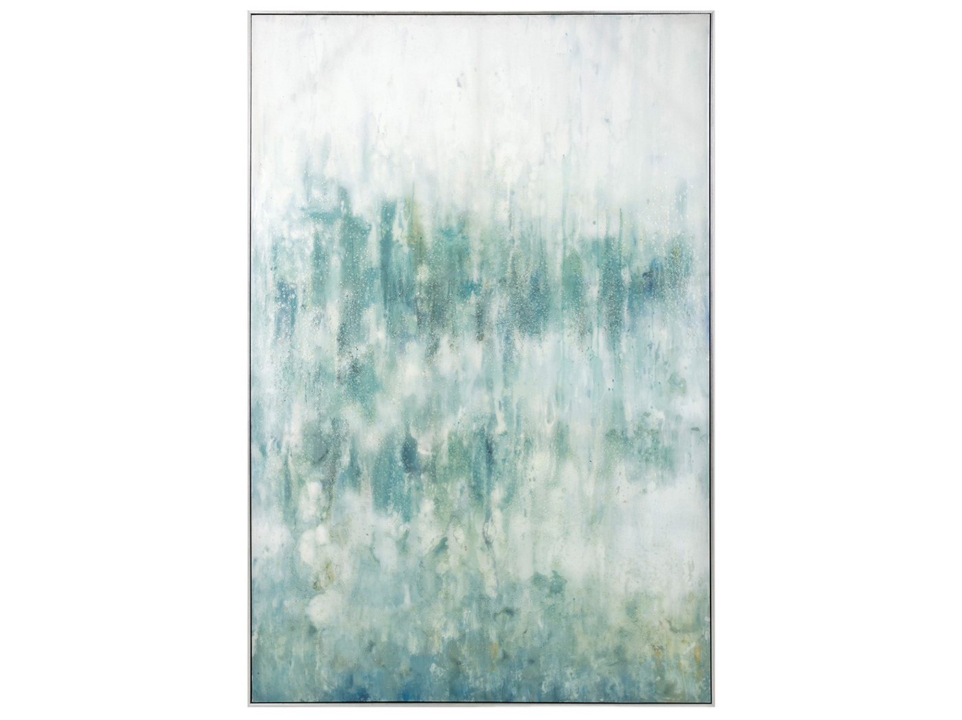 "Blue and Aqua Abstract Canvas Oil Painting 40""W x 59.5""H"