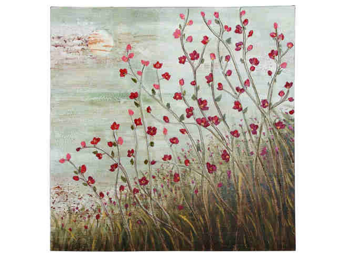 "Garnet Field Flowers Canvas Art 40""W x 40""H"