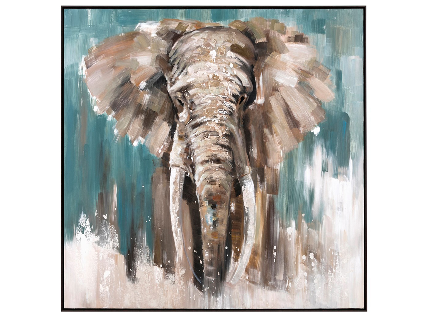 "Elephant Thru Waterfall Framed Oil Canvas Painting 48""W x 48""H"