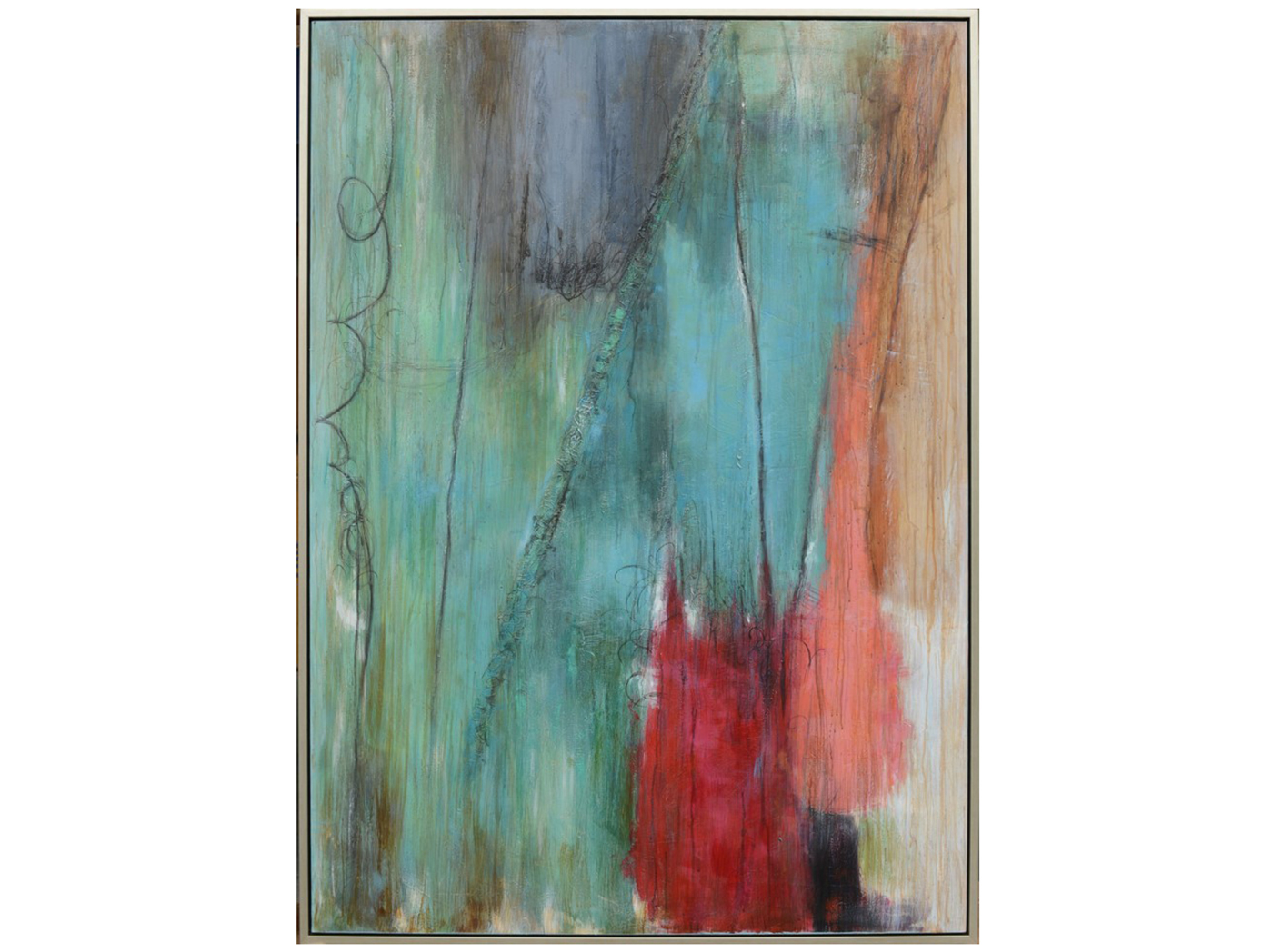 "Aqua and Red Abstract Canvas Art 50""W x 70""H"