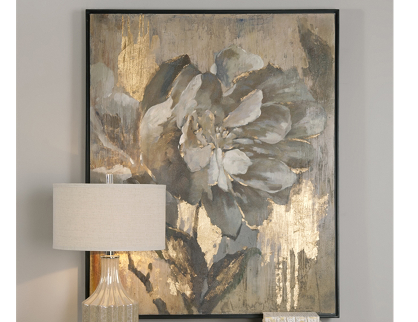 "Gold Leaf and Ivory Flower Canvas 41""W x 51""H"
