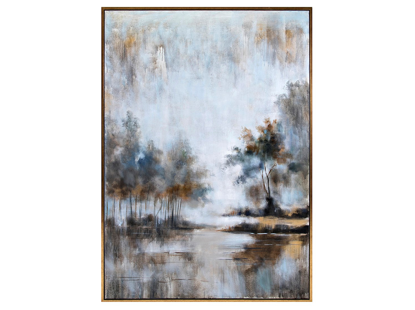 "Blue Abstract Trees Framed Oil Painting 50""W x 74""H"