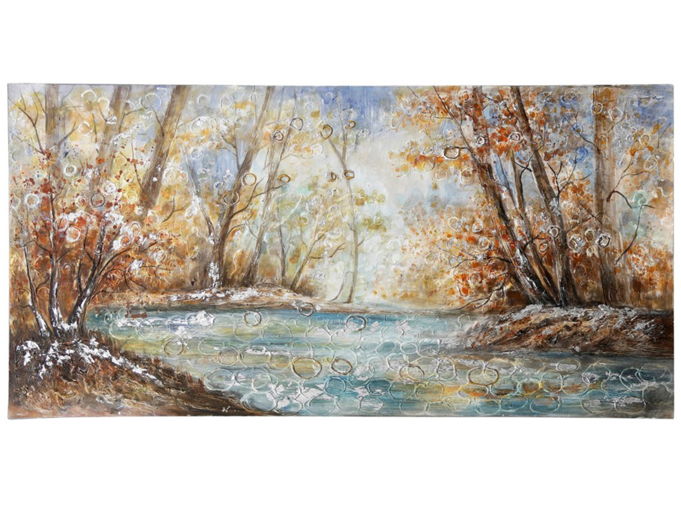 "Fall Trees By The River Oil Painting 55""W x 28""H"