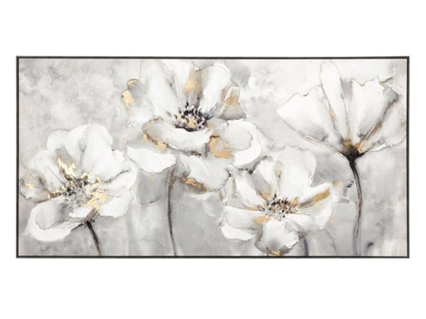 "Cream and Gold Flowers Framed Canvas 60""W x 31""H"