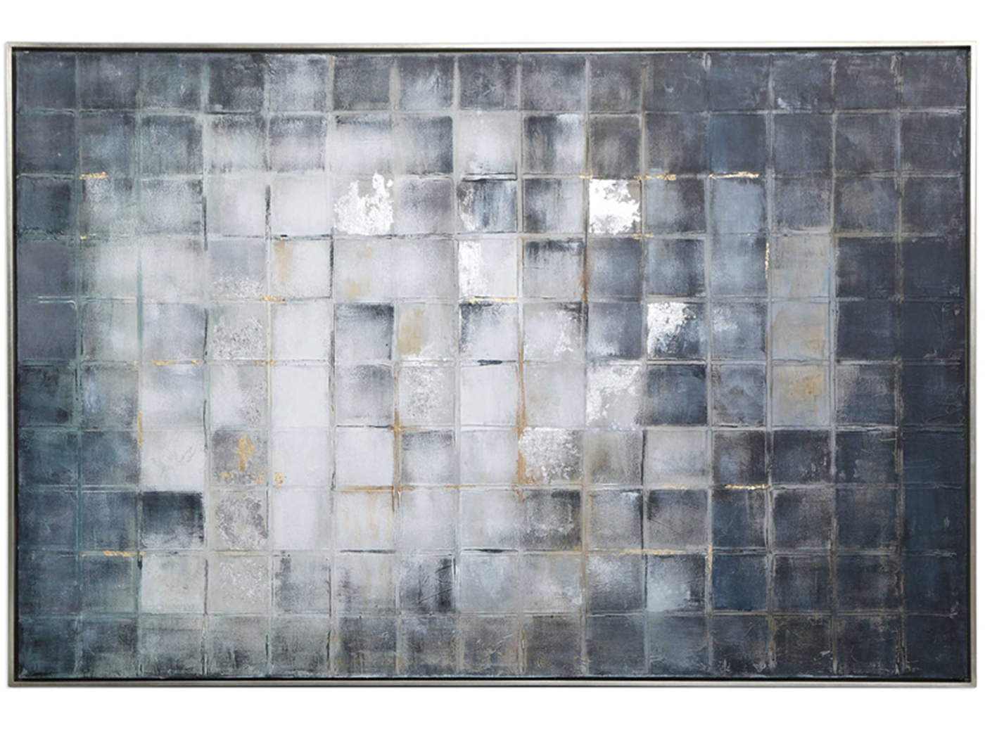 "Blue Grey and Silver Squares Framed Handpainted Art 61""W x 41""H"