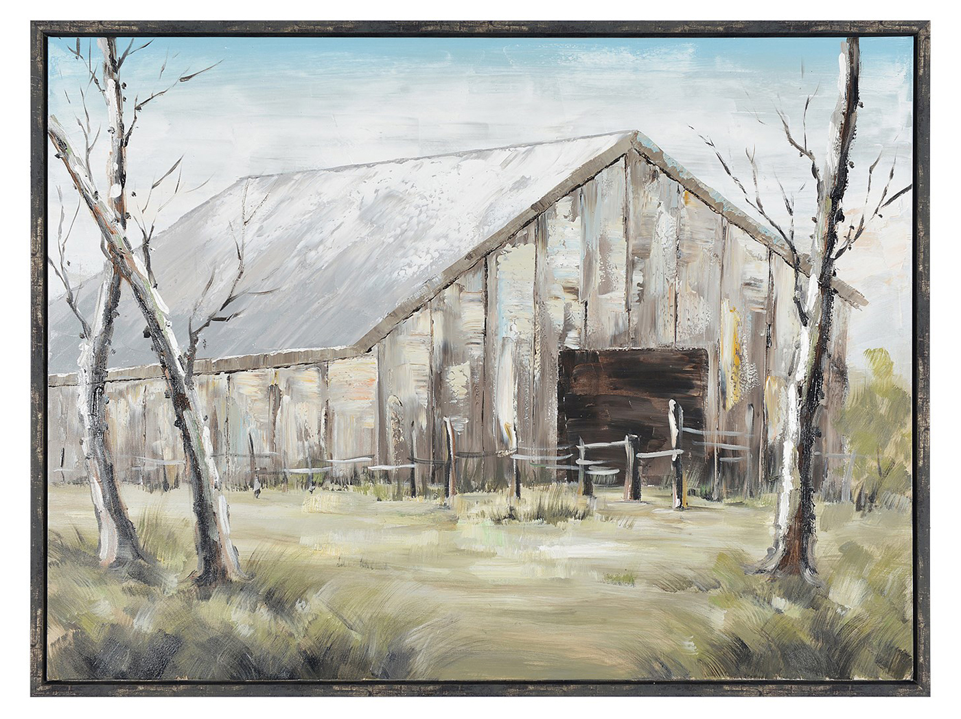 "Late Fall Barn Framed Hand Painted Canvas Art 47""W x 35""H"