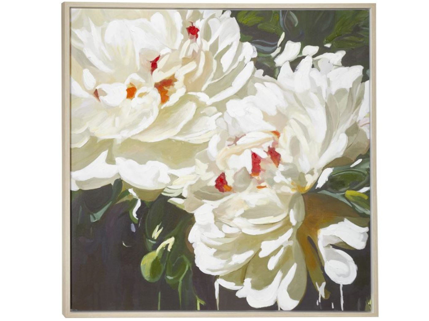 "White Flowers Framed Canvas Art 39""W x 39""H"