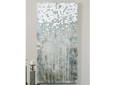 "White Cotton Floral Canvas 28""W x 55""H"