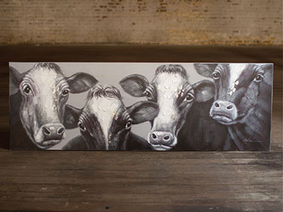 "Black and White Four Cows Print 23.5""H x 71""L"