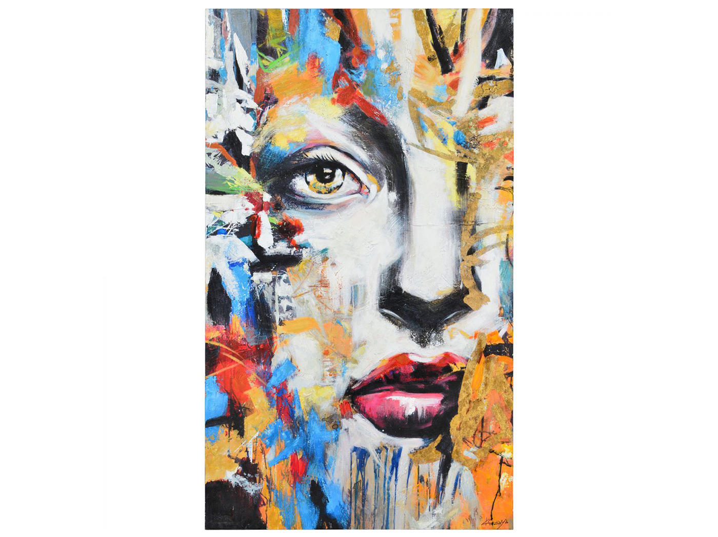 "Multi Color Face Handpainted Art 36""W x 60""H"