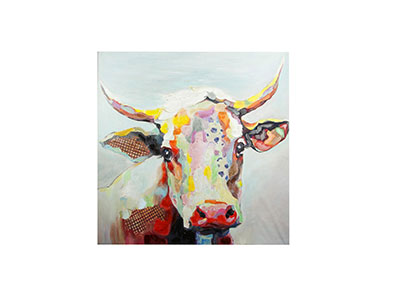"Colorful Cow Canvas 50""W x 50""H"
