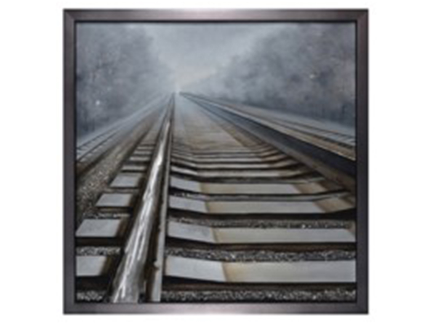 "Railroad Tracks Handpainted Framed Canvas 47""W x 47""H"