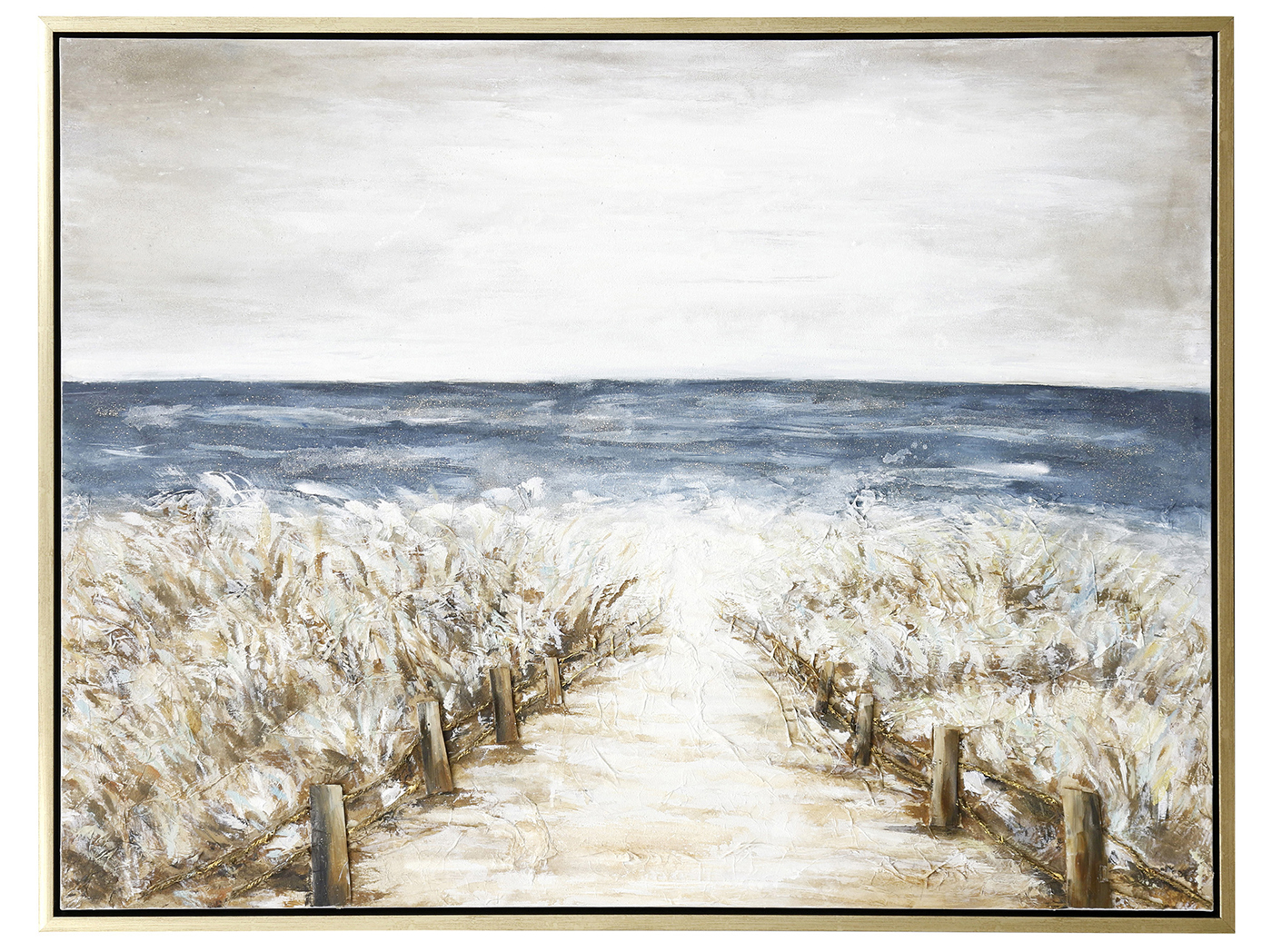 "Peaceful Beach Path Handpainted Framed Canvas 48""W x 36""H"