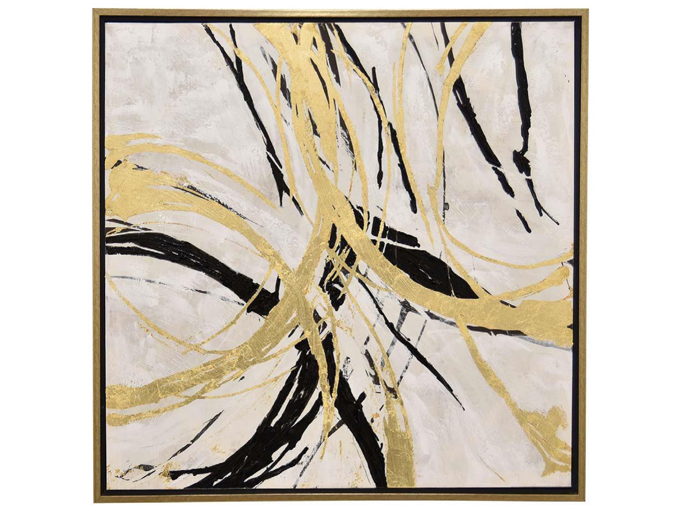 "Gold and Black Abstract Framed Oil Painting 31.5""W x 31.5""H"