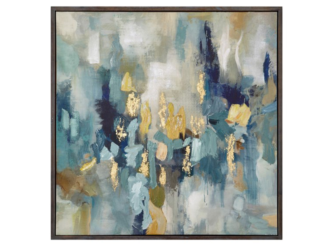 "Blue and Gold Abstract Framed Oil on Canvas 50""W x 50""H"