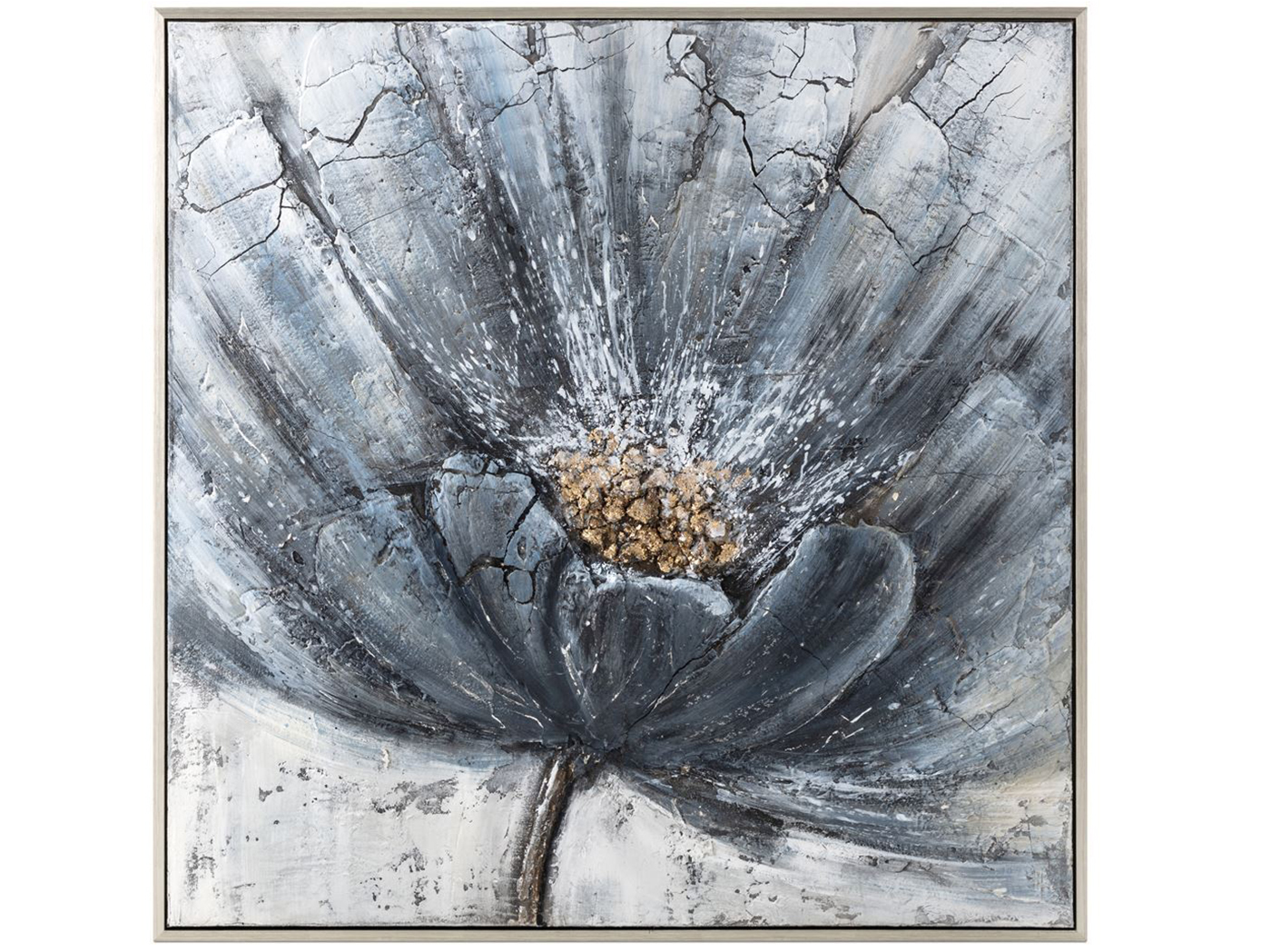 "Blue Flower Framed Oil Painting 48.5""W x 48.5""H"