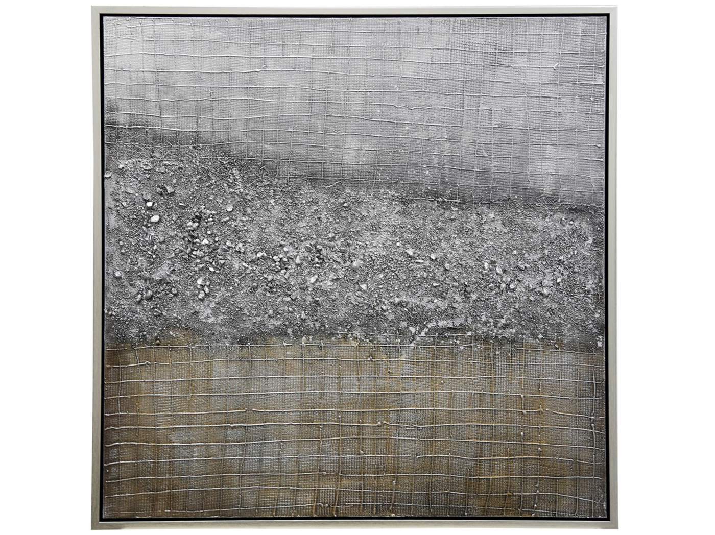 "Silver And Gold Textured Abstract Framed Canvas 40""W x 40""H"