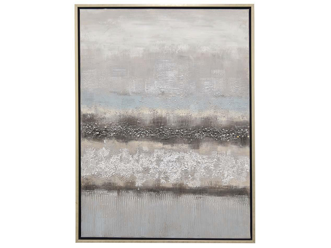 "Grey and Blue Layers Abstract Framed Oil Painting 30""W x 40""H"