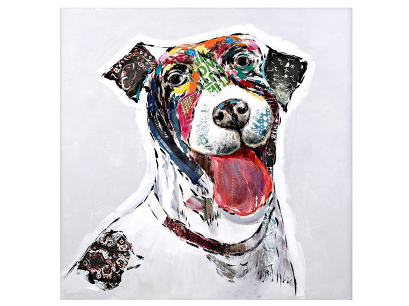 "Joyful Dog Canvas Painting 31.5""W x 31.5""H"