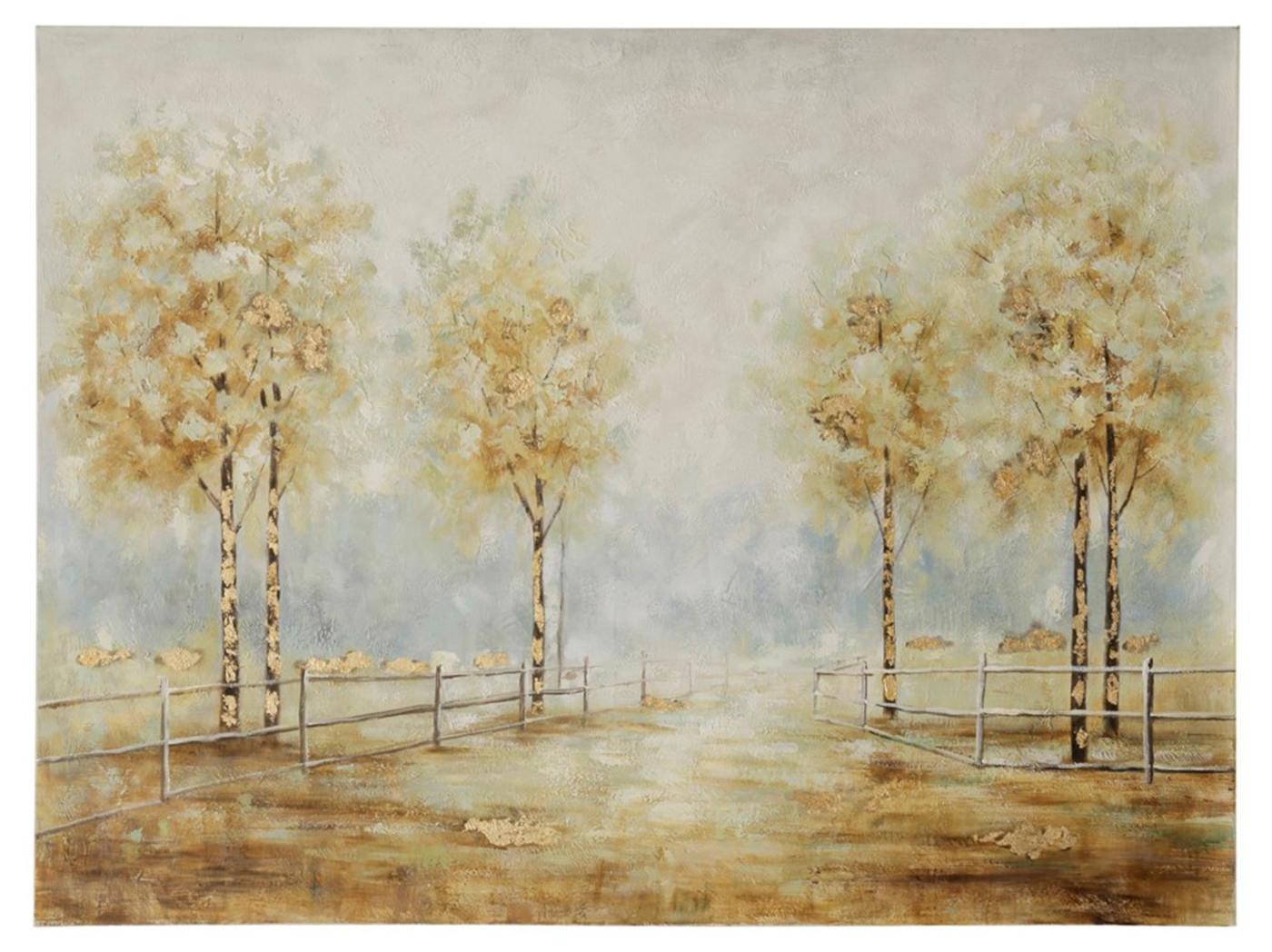 "Gold Tree Line With Fence Handpainted Canvas 49""W x 36""H"