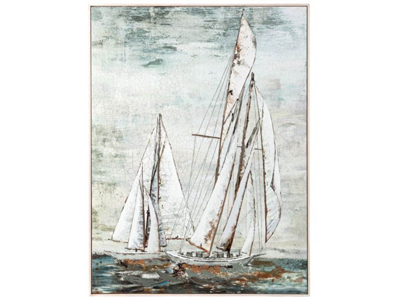 "Sailboats Framed Oil Painting 36""W x 48""H"