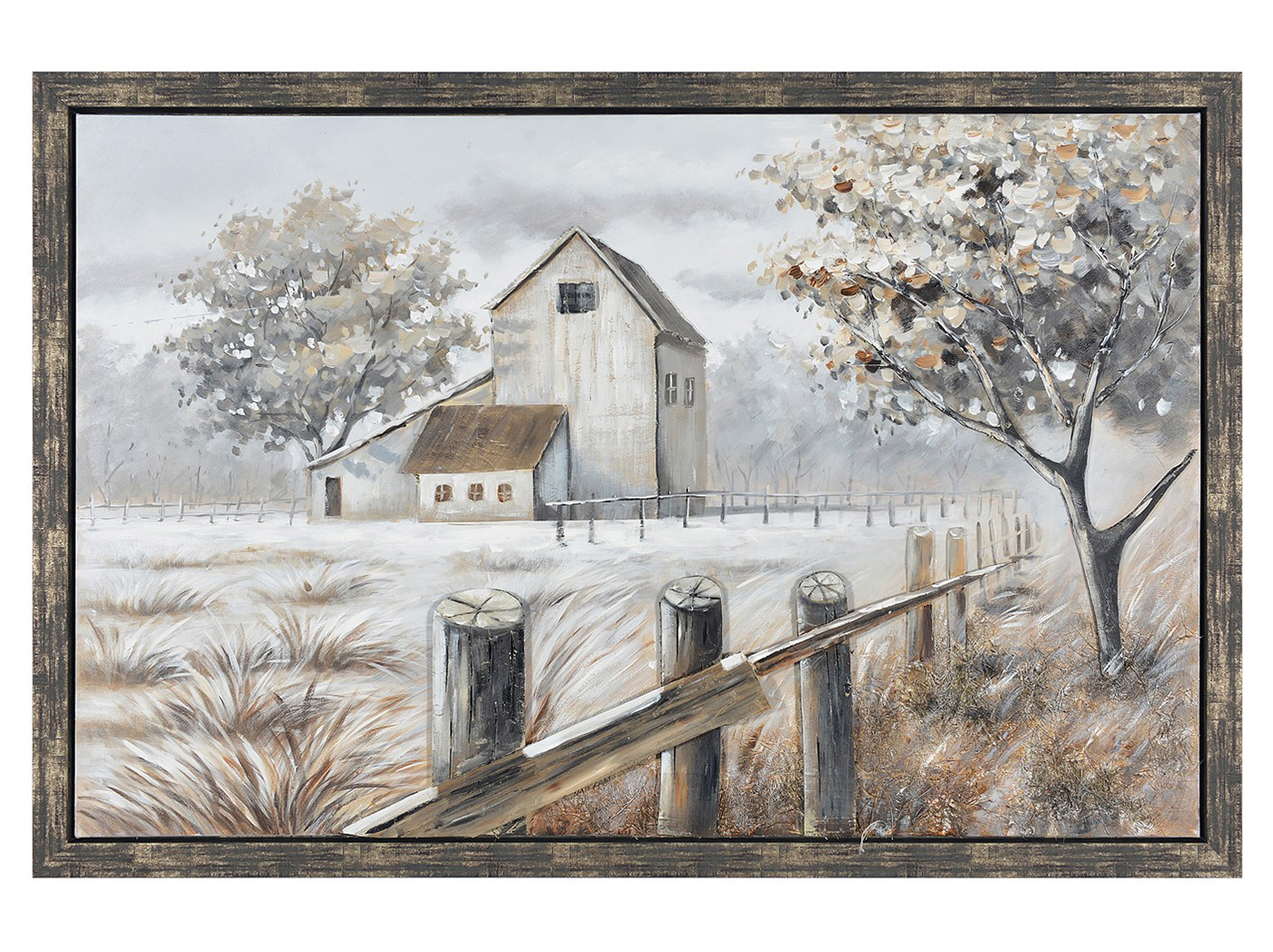 "Fall Farm Handpainted Framed Canvas 59""Wx39""H"