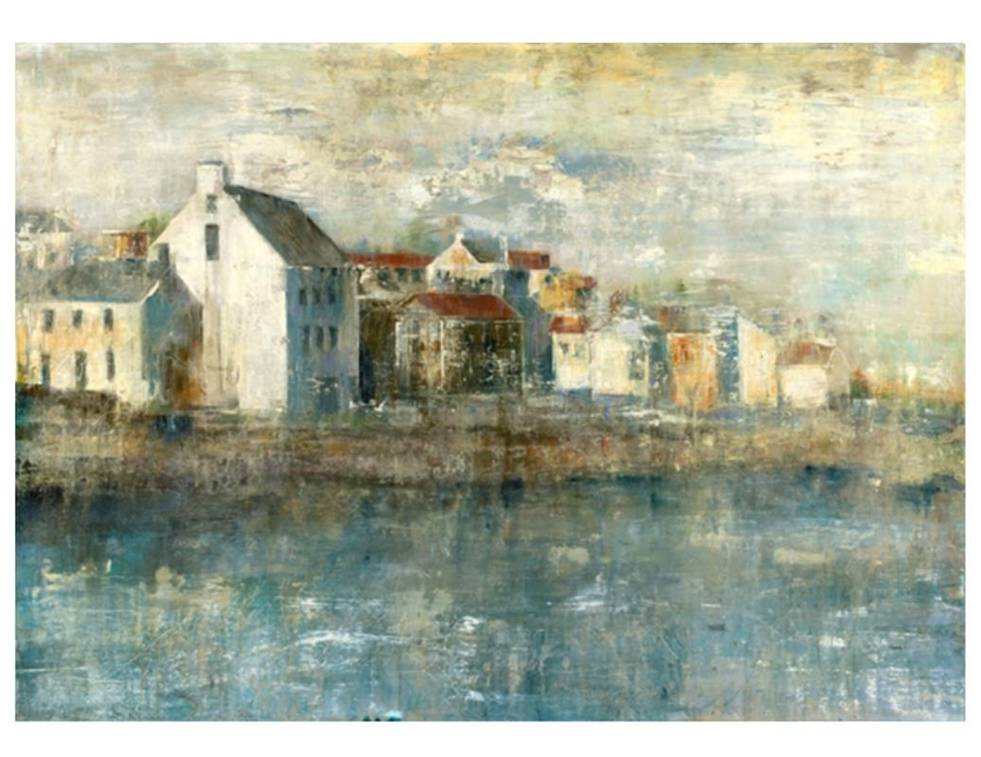 "Coastal Village Canvas 56""W x 40""H"