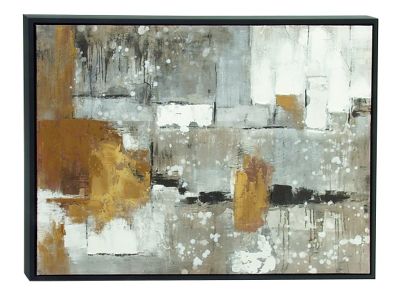 "Grey, Caramel, and White Abstract Framed Canvas Art 48""W x 36""H"