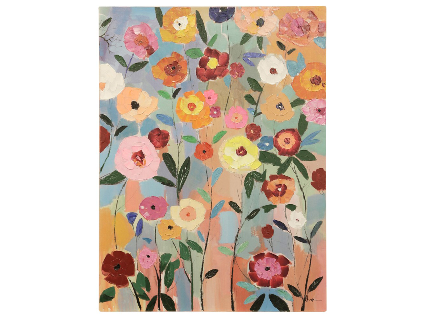 "Bright Flowers Canvas Art 36""W x 48""H"